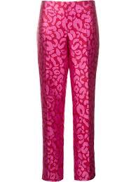 pink clothing oscar de la renta leopard jacquard trousers currant hot pink women