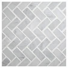 herringbone mosaic tile polished white carrara marble