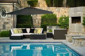 Modern Pool Furniture by Outdoor Modern Patio Pool Furniture And Black Umbrella For Outdoor