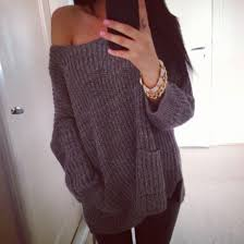oversized shoulder sweater sweater winter sweater grey sweater knitted sweater the