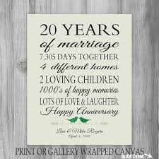 20 year anniversary gifts for 20th anniversary gift 20 year anniversary by printsbychristine 20th