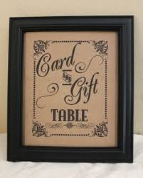 wedding gift table sign wedding card and gift table sign ink rustic kraft or