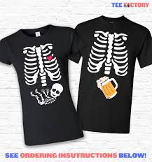 couples costume skeleton baby and beer xray halloween t shirt