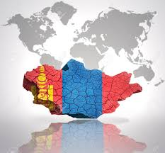 Mongolia Flag Map Of Mongolia With Mongolian Flag On A World Map Background