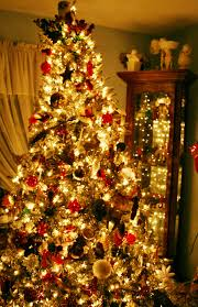 red and gold decorated christmas trees christmas lights decoration
