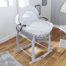 clair de lune deluxe padded grey wicker moses basket stars