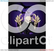 Halloween Flying Bats Clipart Of A Creepy Halloween Skeleton Reaching Out Of A Circle