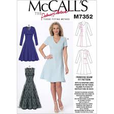 dress pattern fit and flare misses jewel or v neck fit and flare dresses mccalls sewing pattern