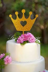aliexpress com buy glitter gold crown princess cake topper baby