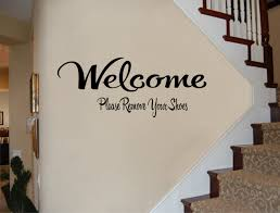 welcome sign welcome please remove your shoes wall decal zoom