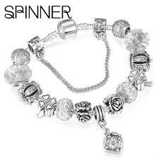 charm bracelet vintage silver images Diy vintage silver plated crystal charm bracelet tao u jpg