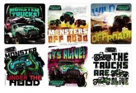 12 monster trucks movie stickers kid party goody loot bag filler