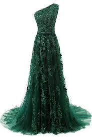 green tulle a line one shoulder sweep green tulle prom dress with