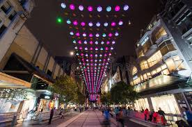christmas lights in melbourne bourke street mall editorial stock