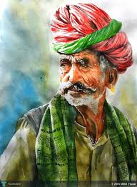 watercolour old man from rajasthan touchtalent for