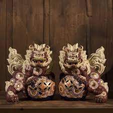 kutani shishi vintage japanese kutani shishi foo fu dog pair set japan lover