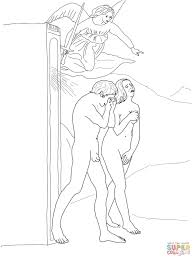 adam and eve banished from paradise coloring page free printable