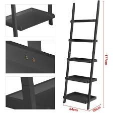 amazon com yaheetech 5 shelf wood leaning ladder bookshelf