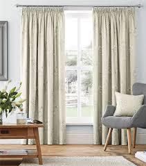 cream beige floral 100 cotton pencil pleat curtains drapes 7