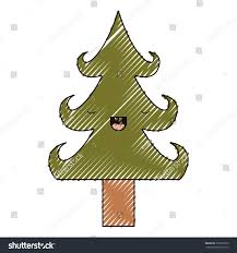 kawaii christmas tree trunk eyes closed stock vector 729730570