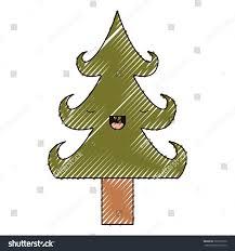 kawaii christmas tree trunk eyes closed stock vector 729730570