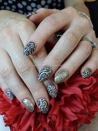 black and gold freehand nail art nailart ideas