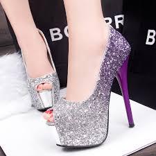 cheap silver wedding shoes 2016 peep toe high heels prom wedding shoes platforms