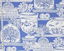 blue beach fabric coral fish aquarium seashell coastal decor from