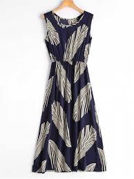 midi dress leaf print sleeveless midi dress blue midi dresses m zaful