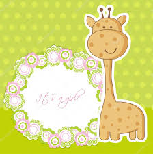 baby shower card with cute giraffe and frame for your text