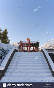 fresh snow on steps garden memorial to chinese pioneers park