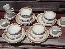 watercolors stoneware dishes set for 6 retro hearthside japan