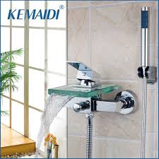 Shower Bath Faucet Popular Wall Mounted Waterfall Bathtub Faucet Buy Cheap Wall