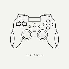 ordinateur de bureau jeux ligne manette plate d icône de pièce d ordinateur de vecteur type de