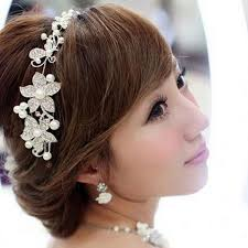 hair crystals women girl pearl flower rhinestone luxury