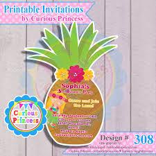 Printable Hawaiian Decorations 308 Pineapple Shaped Invitations For Hawaiian Luau Party Digital