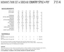 sirdar 7114 ladies twin set in country style 4 ply pattern u2013 the