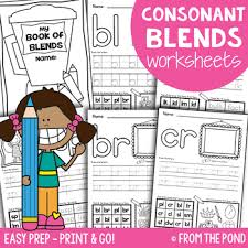 consonant blends worksheets easy prep printables by from the pond