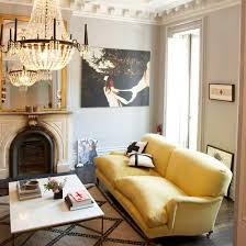 Gray And Gold Living Room by Chic Modern French Yellow U0026 Gray Living Room Design With Gray Wall