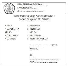 format absensi ujian membuat kartu peserta ujian sekolah uts uas sman 3 subang