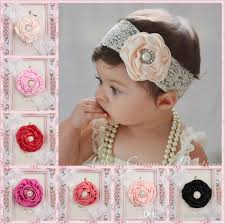 lace headbands new baby flower lace headbands children pearl satin