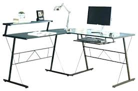 Glass Corner Computer Desks For Home Small Glass Corner Computer Desk L Shape Attractive Black Metal