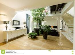 Room With Plants Spacious Staircase With Plants And Skylight Stock Photo Image
