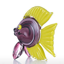 best and cheap purple tooarts yellow tropical fish glass sculpture