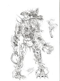 nightmare foxy the necromorph desing sketch by edgar games on