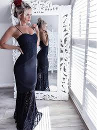 buy mermaid spaghetti straps navy blue elastic satin prom dress