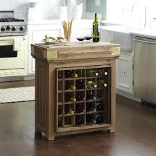 chefs brown kitchen island with wine storage