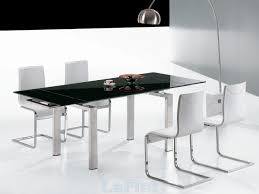 White Dining Table With Black Chairs Favored Black And White Dining Room Decors With Square Modern