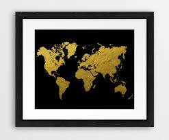 Black World Map by World Map Black And Gold Printable World Map Silhouette Gold