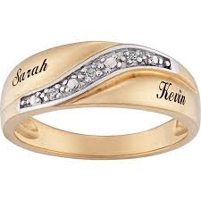 wedding band names personalized men s diamond accent name wedding band 18kt gold